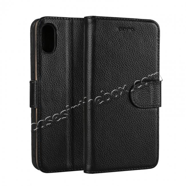 wholesale Genuine Leather Wallet Card Holder Flip Stand Case for iPhone X - Black