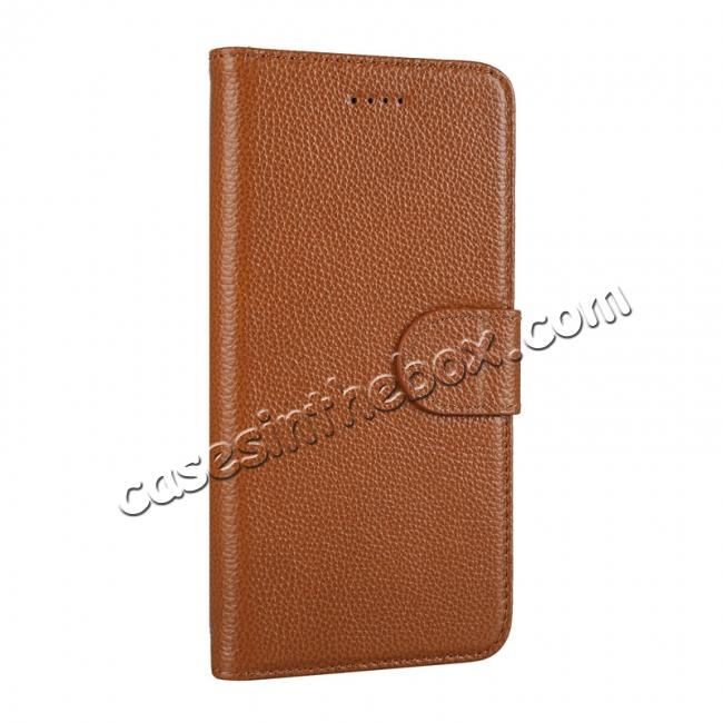 discount Genuine Leather Wallet Card Holder Flip Stand Case for iPhone X - Brown