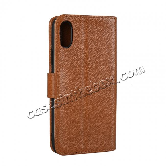 cheap Genuine Leather Wallet Card Holder Flip Stand Case for iPhone X - Brown