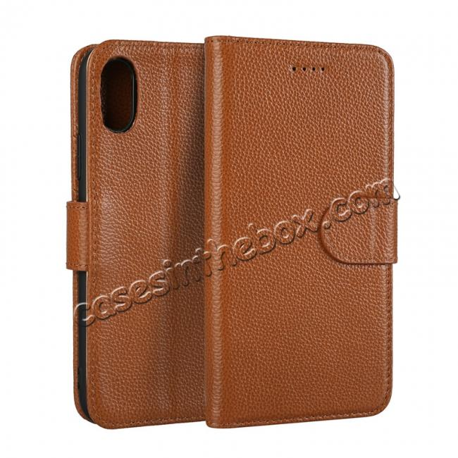 wholesale Genuine Leather Wallet Card Holder Flip Stand Case for iPhone X - Brown