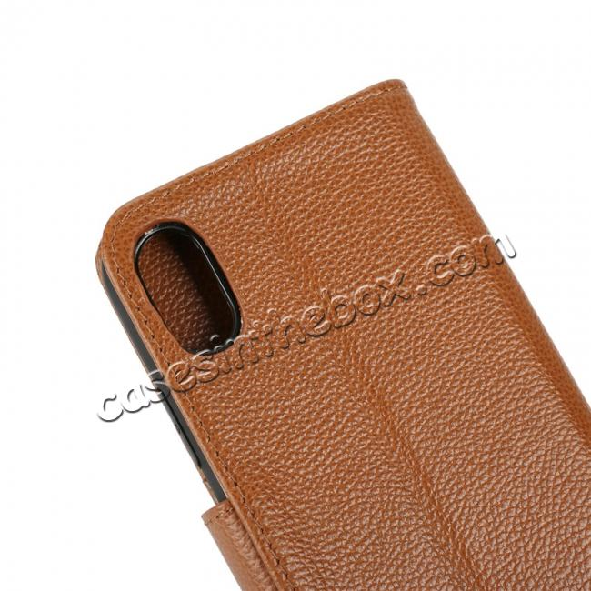 top quality Genuine Leather Wallet Card Holder Flip Stand Case for iPhone X - Brown