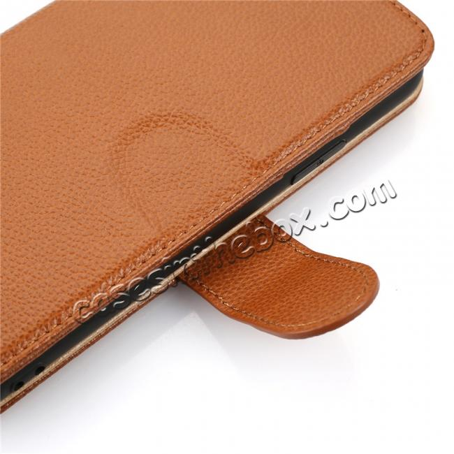 best price Genuine Leather Wallet Card Holder Flip Stand Case for iPhone X - Brown