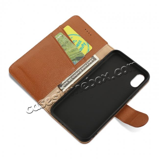 on sale Genuine Leather Wallet Card Holder Flip Stand Case for iPhone X - Brown
