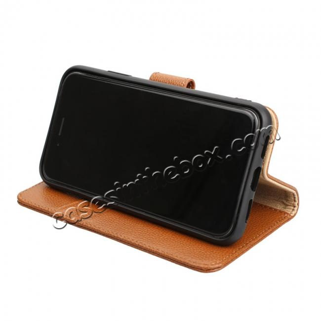 low price Genuine Leather Wallet Card Holder Flip Stand Case for iPhone X - Brown