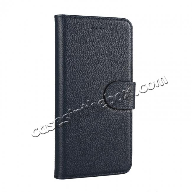 discount Genuine Leather Wallet Card Holder Flip Stand Case for iPhone X - Navy Blue