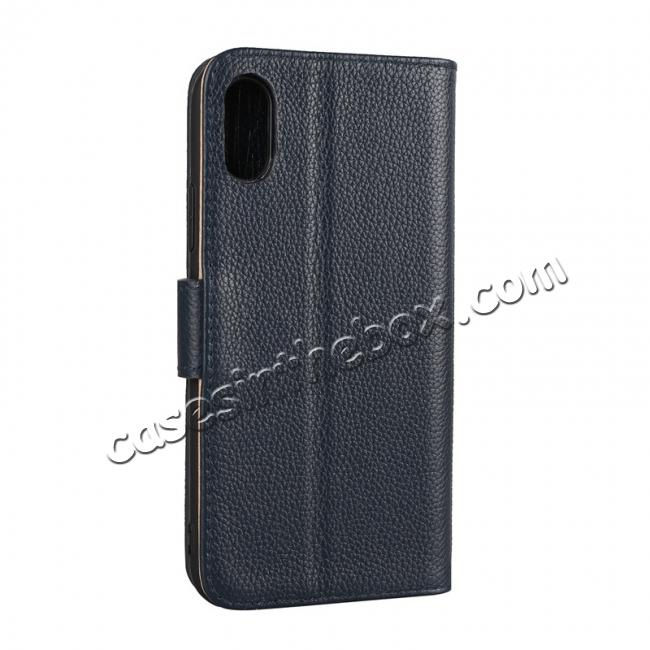 cheap Genuine Leather Wallet Card Holder Flip Stand Case for iPhone X - Navy Blue