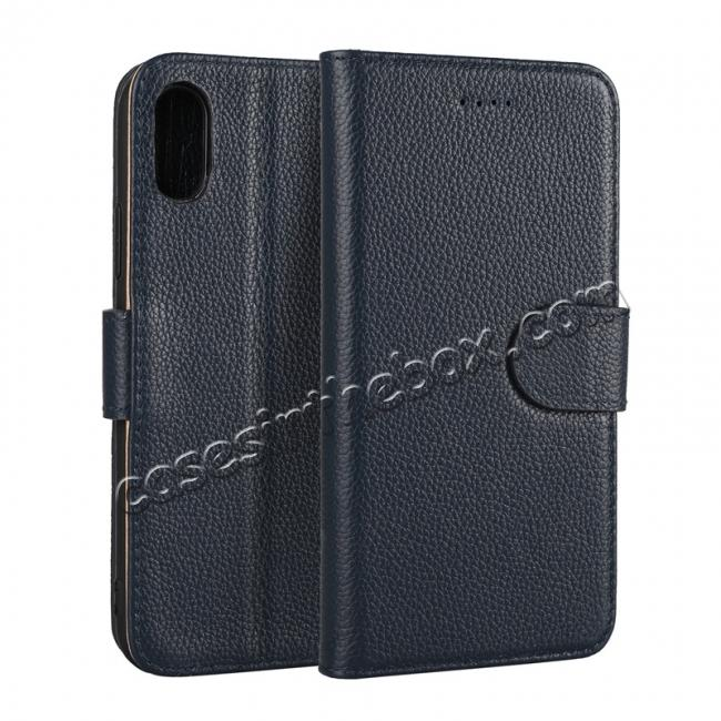 wholesale Genuine Leather Wallet Card Holder Flip Stand Case for iPhone X - Navy Blue