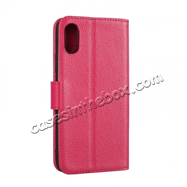 cheap Genuine Leather Wallet Card Holder Flip Stand Case for iPhone X - Rose Red