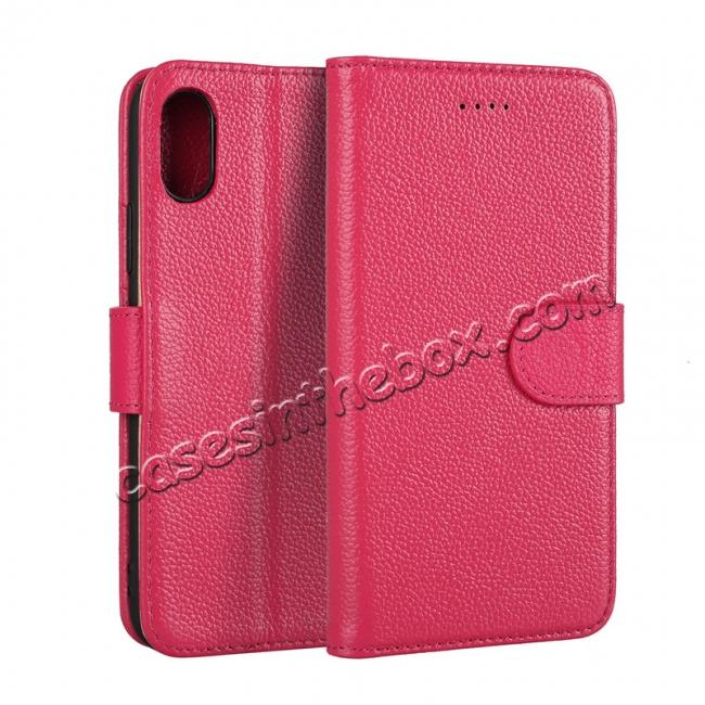 wholesale Genuine Leather Wallet Card Holder Flip Stand Case for iPhone X - Rose Red