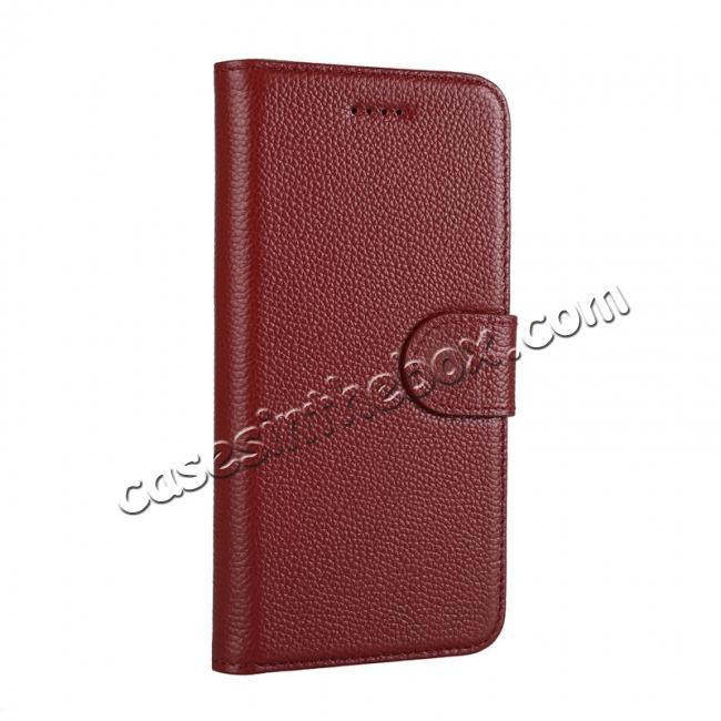 discount Genuine Leather Wallet Card Holder Flip Stand Case for iPhone X - Wine Red