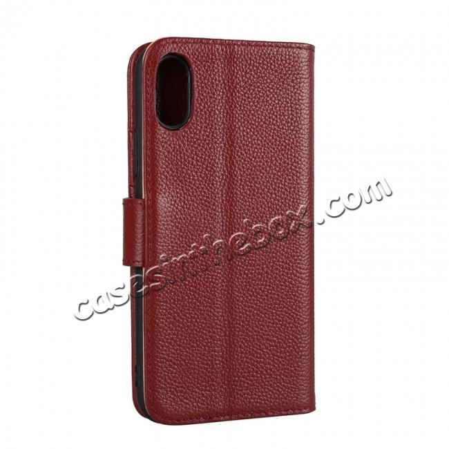 cheap Genuine Leather Wallet Card Holder Flip Stand Case for iPhone X - Wine Red