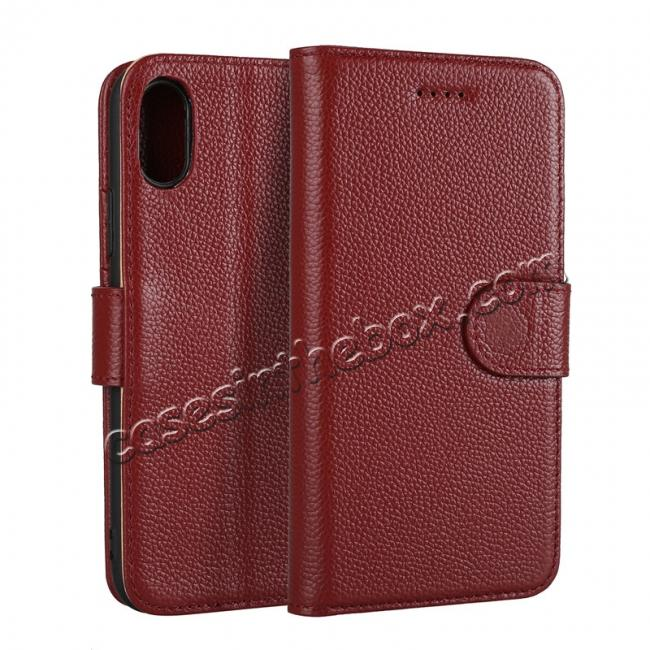 wholesale Genuine Leather Wallet Card Holder Flip Stand Case for iPhone X - Wine Red