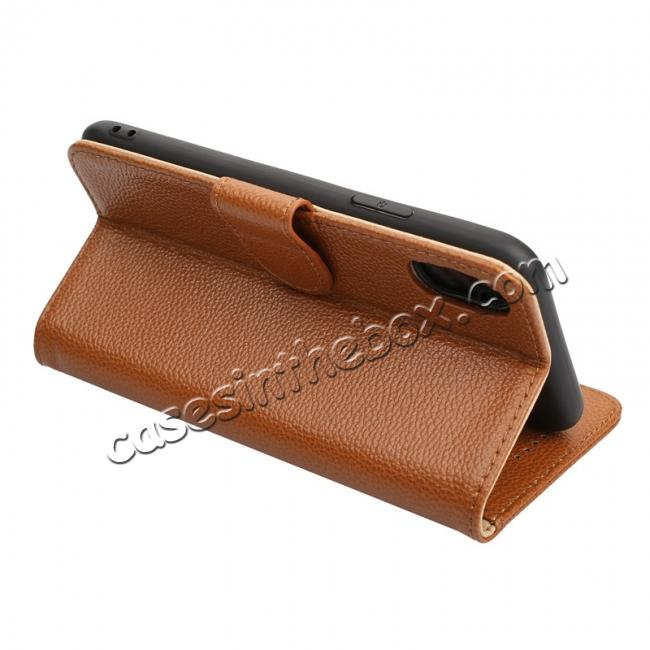 on sale Genuine Leather Wallet Card Holder Flip Stand Case for iPhone X - Wine Red