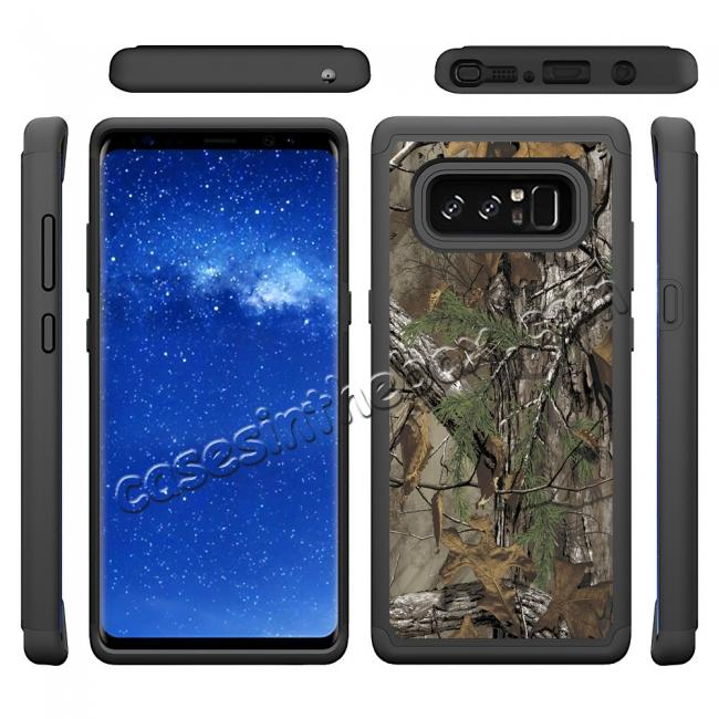 discount Hybrid Dual Layer Shockproof Defender Phone Case Cover For Samsung Galaxy Note 8 - Camo Tree