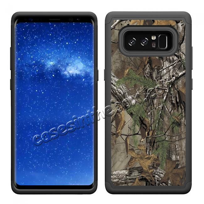 cheap Hybrid Dual Layer Shockproof Defender Phone Case Cover For Samsung Galaxy Note 8 - Camo Tree