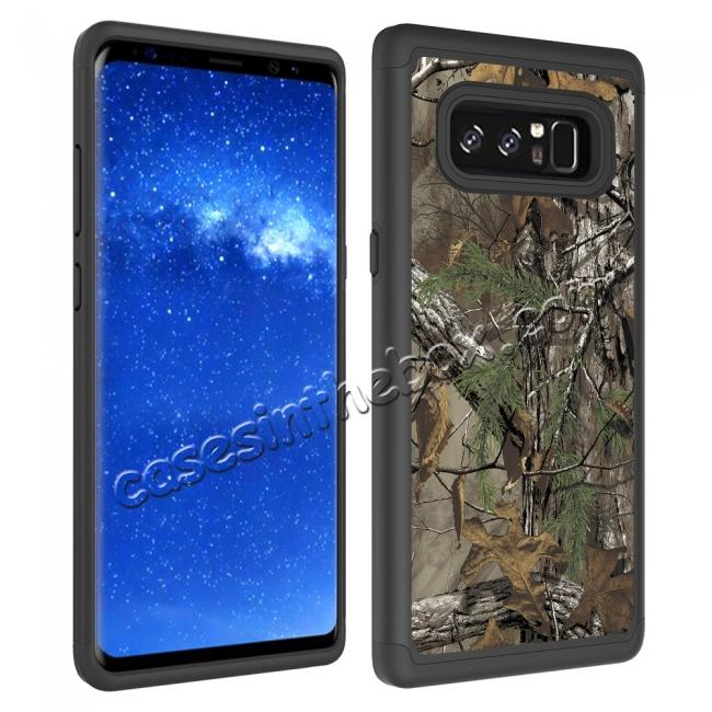 top quality Hybrid Dual Layer Shockproof Defender Phone Case Cover For Samsung Galaxy Note 8 - Camo Tree