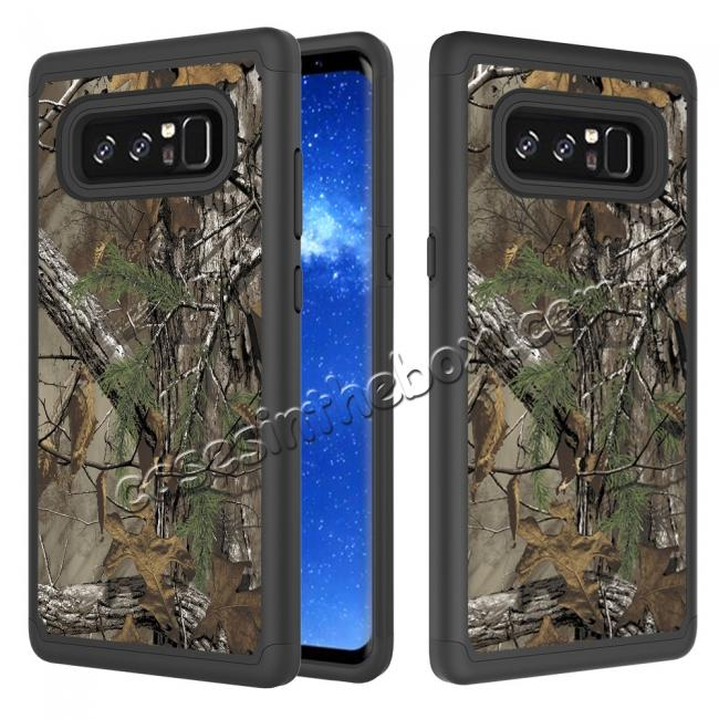 wholesale Hybrid Dual Layer Shockproof Defender Phone Case Cover For Samsung Galaxy Note 8 - Camo Tree