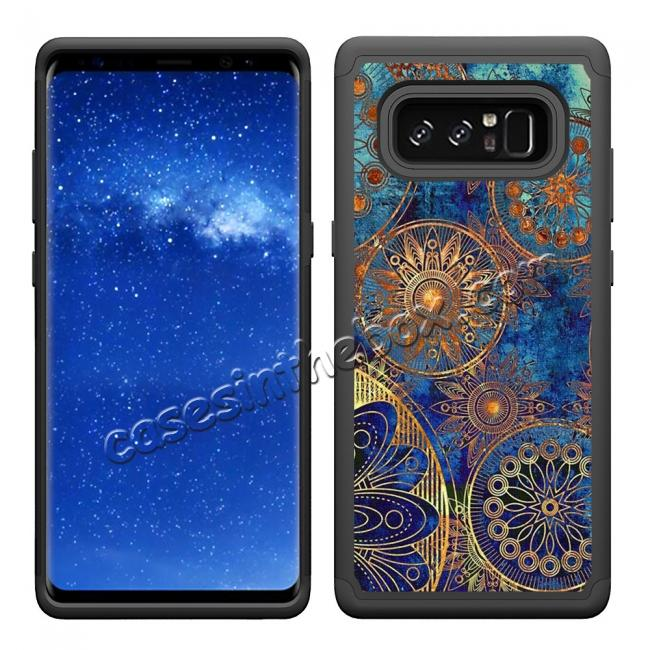 cheap Hybrid Dual Layer Shockproof Defender Phone Case Cover For Samsung Galaxy Note 8 - Gear Wheel