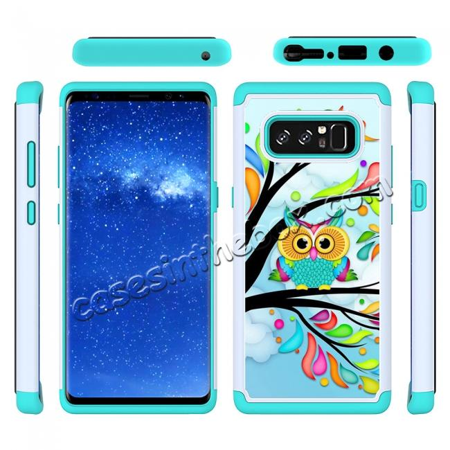discount Hybrid Dual Layer Shockproof Defender Phone Case Cover For Samsung Galaxy Note 8 - Green Owl