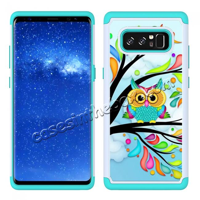cheap Hybrid Dual Layer Shockproof Defender Phone Case Cover For Samsung Galaxy Note 8 - Green Owl