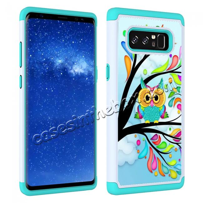 top quality Hybrid Dual Layer Shockproof Defender Phone Case Cover For Samsung Galaxy Note 8 - Green Owl
