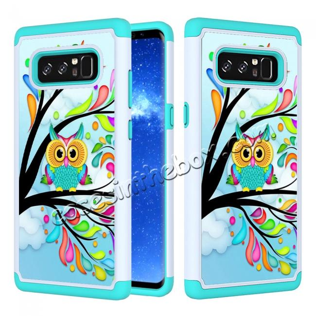wholesale Hybrid Dual Layer Shockproof Defender Phone Case Cover For Samsung Galaxy Note 8 - Green Owl