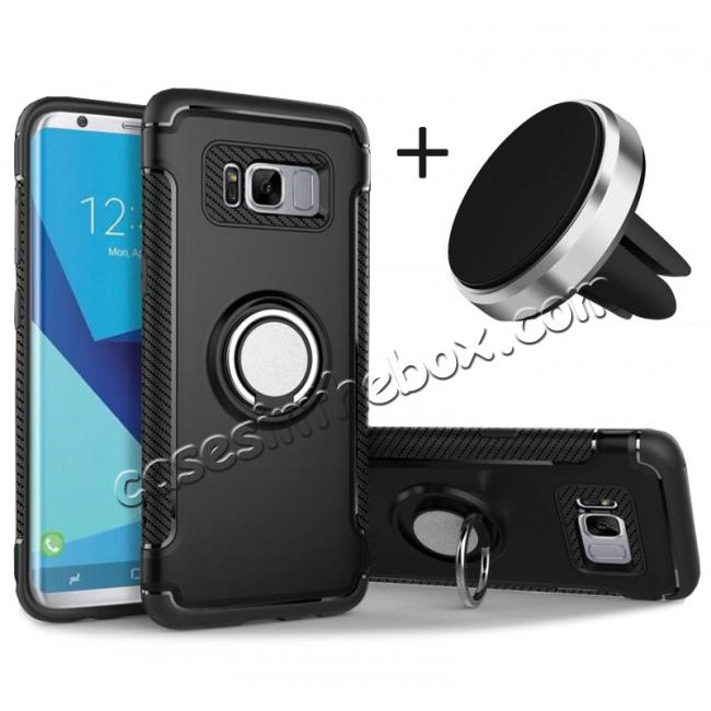 wholesale Hybrid Shockproof Protective Phone Case with Ring Stand for Samsung Galaxy S8 Plus - Black