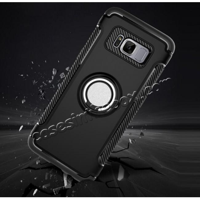 top quality Hybrid Shockproof Protective Phone Case with Ring Stand for Samsung Galaxy S8 Plus - Black