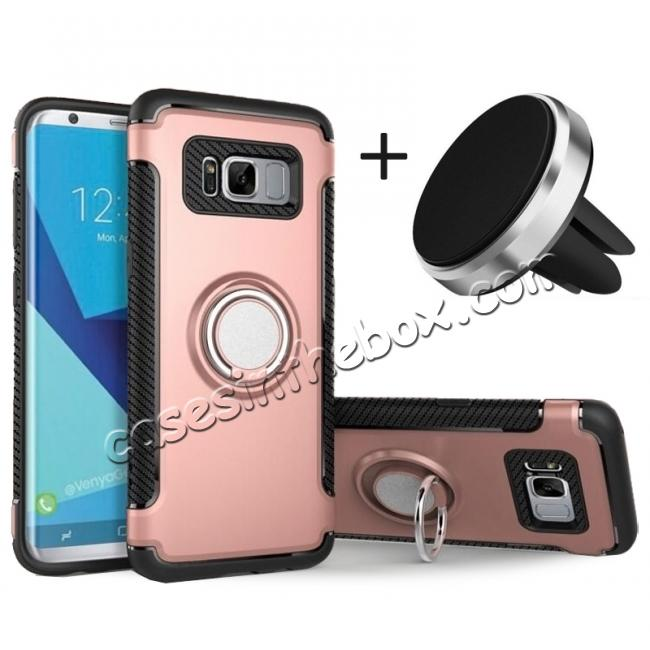 wholesale Hybrid Shockproof Protective Phone Case with Ring Stand for Samsung Galaxy S8 Plus - Rose gold