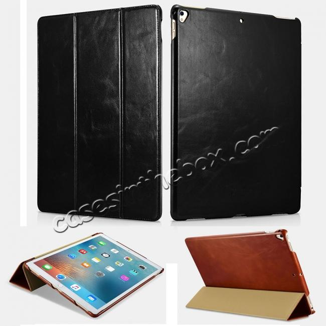 wholesale ICARER Vintage Genuine Leather Stand Folio Case For iPad Pro 12.9-inch 2017 - Black