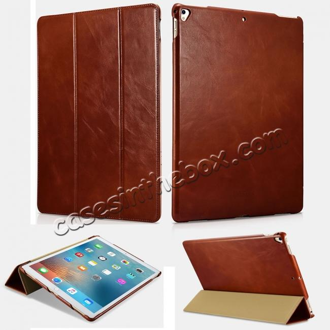 wholesale ICARER Vintage Genuine Leather Stand Folio Case For iPad Pro 12.9-inch 2017 - Brown