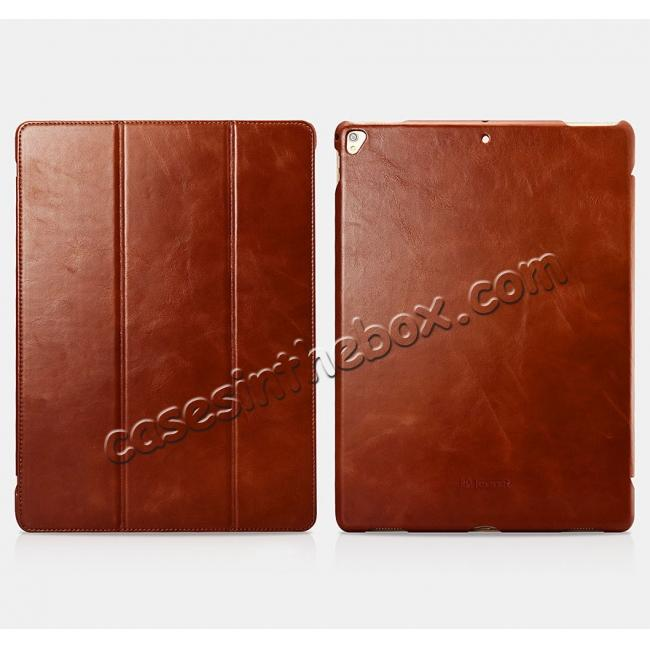 discount ICARER Vintage Genuine Leather Stand Folio Case For iPad Pro 12.9-inch 2017 - Brown