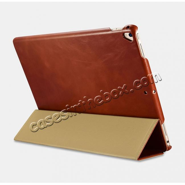 low price ICARER Vintage Genuine Leather Stand Folio Case For iPad Pro 12.9-inch 2017 - Brown