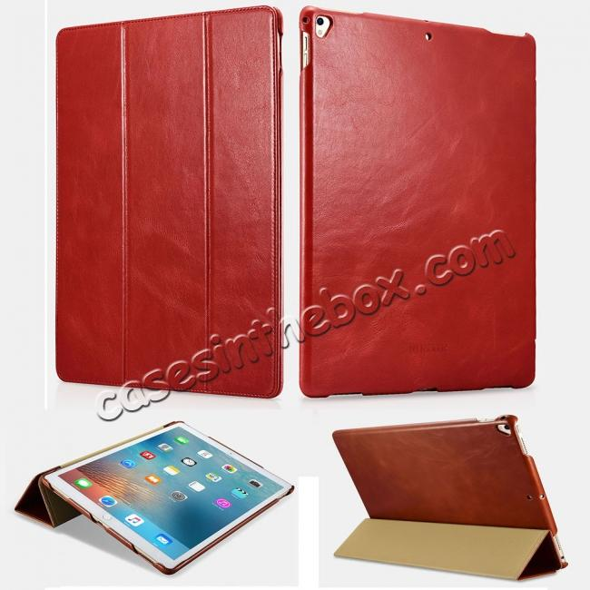 wholesale ICARER Vintage Genuine Leather Stand Folio Case For iPad Pro 12.9-inch 2017 - Red