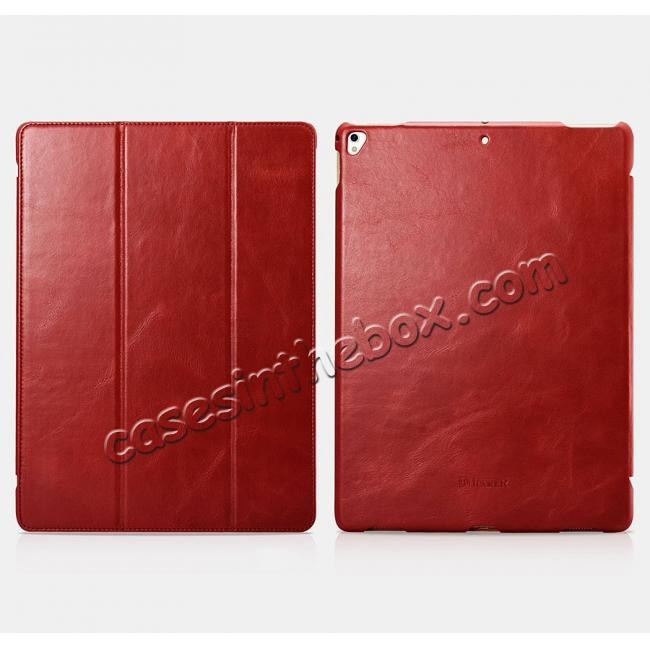 discount ICARER Vintage Genuine Leather Stand Folio Case For iPad Pro 12.9-inch 2017 - Red