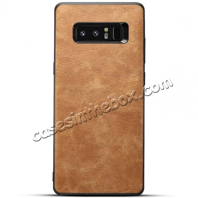 wholesale Leather Ultra Slim Hard Back Case Cover for Samsung Galaxy Note 8 - Brown