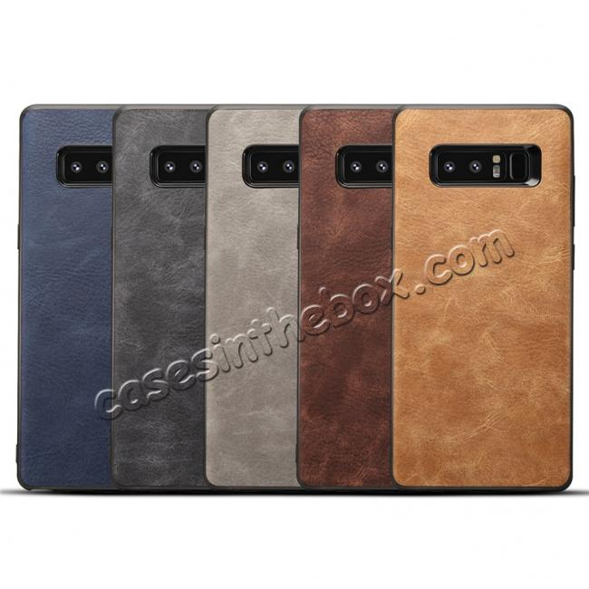 low price Leather Ultra Slim Hard Back Case Cover for Samsung Galaxy Note 8 - Brown