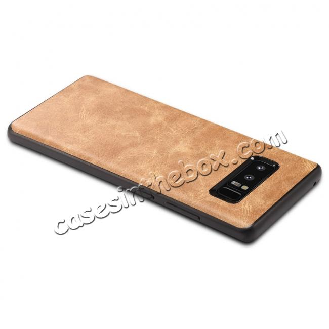 top quality Leather Ultra Slim Hard Back Case Cover for Samsung Galaxy Note 8 - Brown