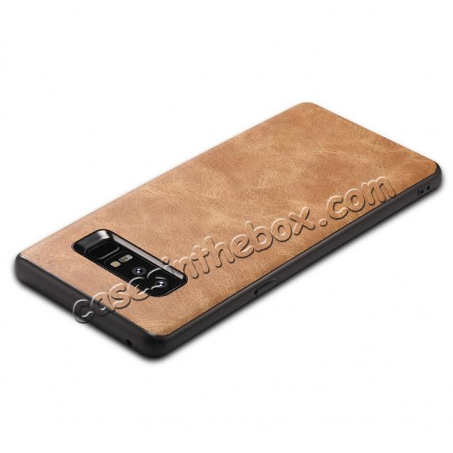 best price Leather Ultra Slim Hard Back Case Cover for Samsung Galaxy Note 8 - Brown