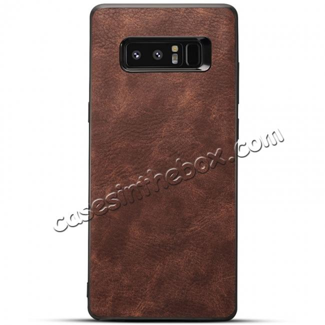 wholesale Leather Ultra Slim Hard Back Case Cover for Samsung Galaxy Note 8 - Dark Brown