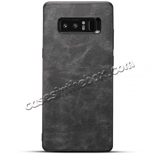 wholesale Leather Ultra Slim Hard Back Case Cover for Samsung Galaxy Note 8 - Dark Grey