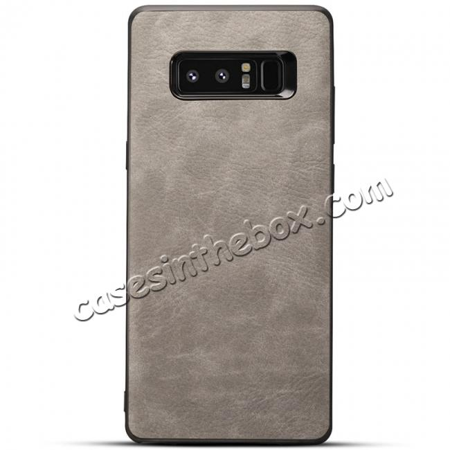 wholesale Leather Ultra Slim Hard Back Case Cover for Samsung Galaxy Note 8 - Light Grey