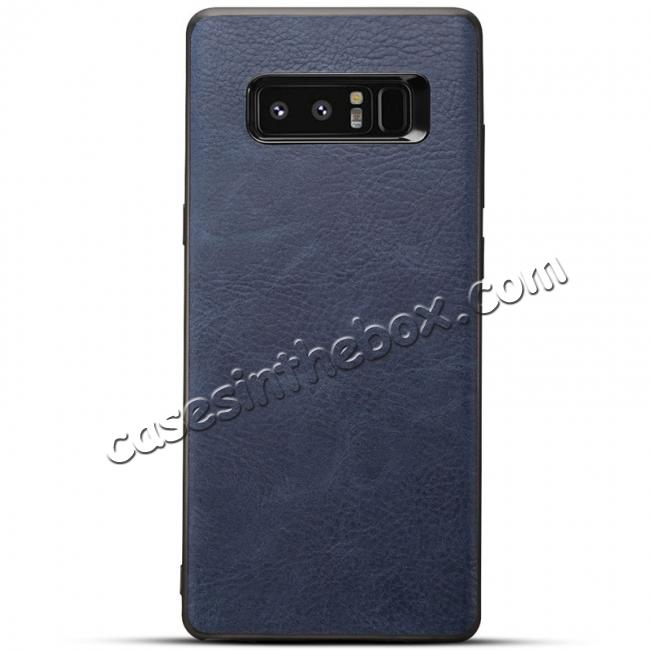 wholesale Leather Ultra Slim Hard Back Case Cover for Samsung Galaxy Note 8 - Navy Blue