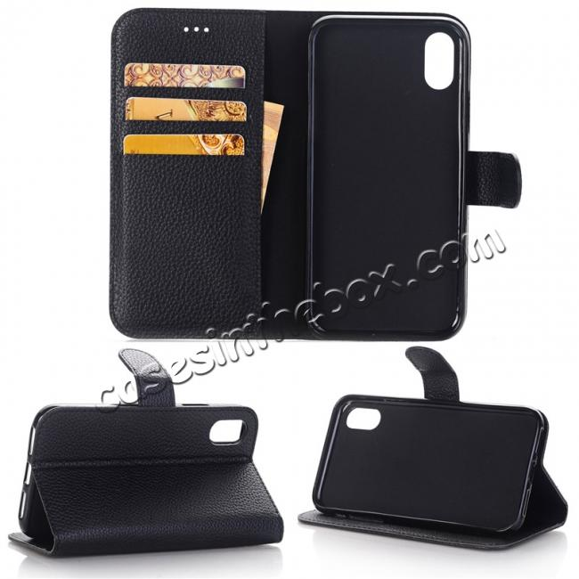 wholesale Lichee Pattern PU Leather Protective Cover Case for iPhone X - Black