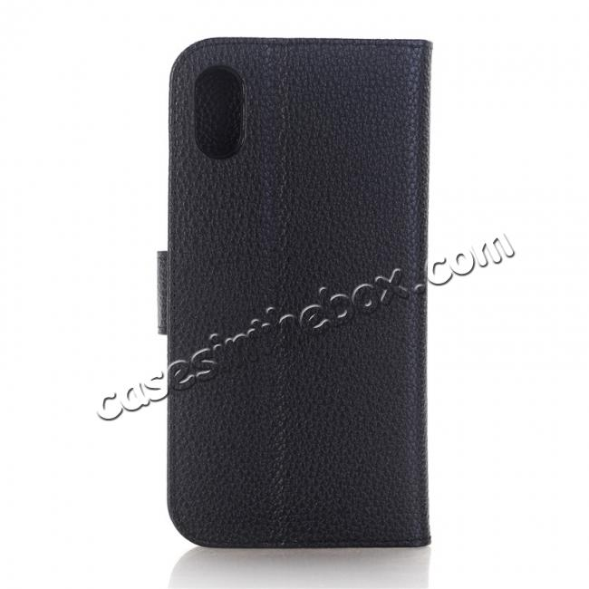 cheap Lichee Pattern PU Leather Protective Cover Case for iPhone X - Black
