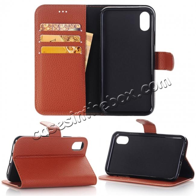 wholesale Lichee Pattern PU Leather Protective Cover Case for iPhone X - Brown