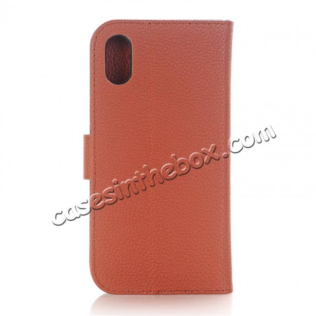 discount Lichee Pattern PU Leather Protective Cover Case for iPhone X - Brown