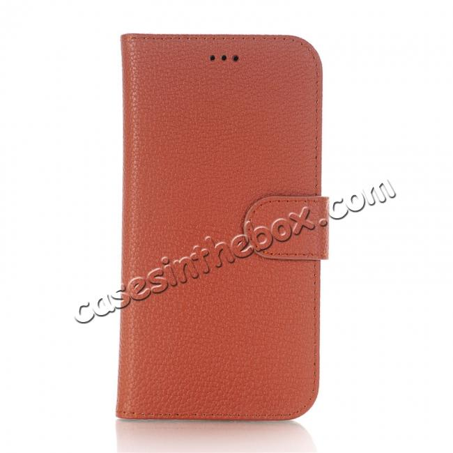 cheap Lichee Pattern PU Leather Protective Cover Case for iPhone X - Brown