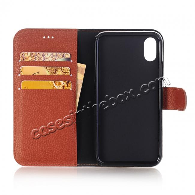 top quality Lichee Pattern PU Leather Protective Cover Case for iPhone X - Brown