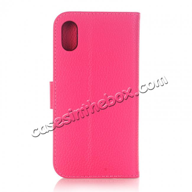 cheap Lichee Pattern PU Leather Protective Cover Case for iPhone X - Rose Red